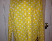 Yellow with white polka dot shirt Liz sport 100% cotton ladies large