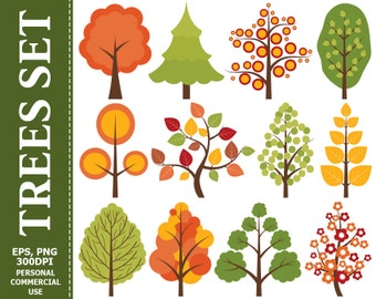 50% OFF SALE Digital Trees Clip Art - Tree, Flowers, Nature, Leaves, Vector, Branch, Fir Tree Clip Art