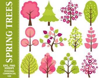 BUY 1 GET 1 FREE - Digital Spring Trees Clip Art - Tree, Leaves, Spring, Vector, Branch, Fir Tree Clip Art. Commercial and Personal use