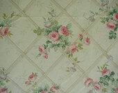 Vintage Bed Sheet Set, Queen Bed Size, Trellis Rose Print, 1 Flat Sheet, 1 Fitted Sheet, 2 Pillowslips, Cottage Chic