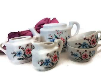 Vintage Dolls Tea Party, Tea Set, Miniature China Teaset, Cottage Chic Dollhouse