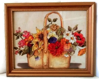 Vintage Oil Painting, Flowers in Basket, Still Life Fall Colors