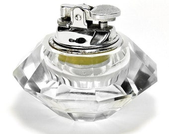 Attractive Vintage Mid 20th Century Art Glass & Chrome Table Cigarette Lighter