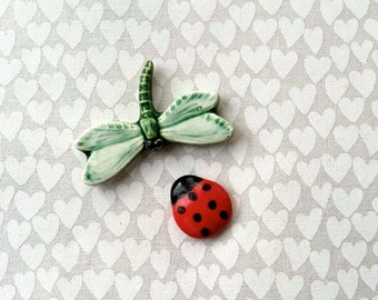 RESERVED HA Lady Bug w/ Dragonfly - Ceramic Tiles