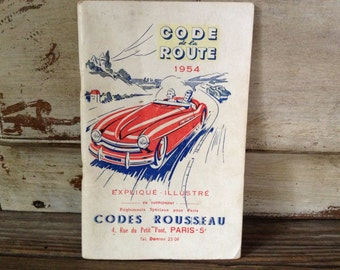 1954 Paris, French Road Code Rules Book Illustrations