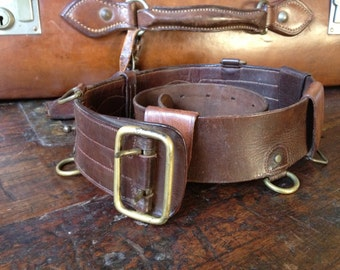 WWI French Army Leather Belt, Brass Beautiful Stylish Patina, Highly Collectible