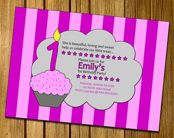 Girl Cupcake Birthday Party Invitations - U PRINT