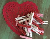 """30 Red, Pink & White Clothespins / 2"""" Valentines Clothespins for Crafts, Gift Bags, Treat Bags, Swags, Mixed Media, Altered ARts, etc."""