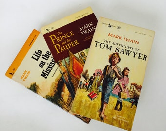 Mark Twain Books / Vintage Mark TwainThe Prince and the Pauper, Tom Sawyer, Life on the Mississippi Paperbacks Classics Series Airmont Pub.