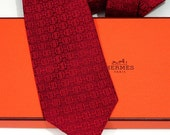 Authentic Vintage Hermes Faconnee H and Stirrup Tie in Oxblood Red