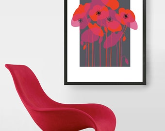 Midcenury Floral Print, Red and pink Poppies, retro Eames era, mid-century modern, Poppies, Pop art style, giclee art print