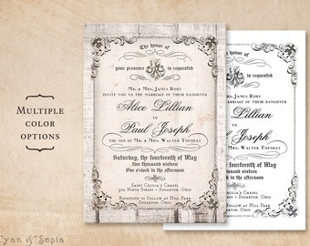 Printable 5x7 Wedding Invitation - Antique Calligraphy, Wood or Plain - Cottage Victorian Rustic Customized DIY - White Gray Black Neutral