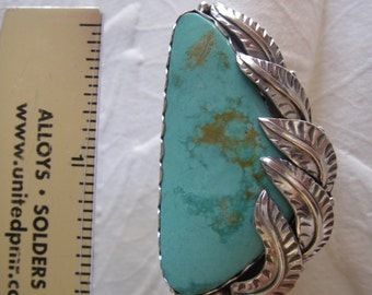 Sterling silver feather ring with turquoise size 8 3/4