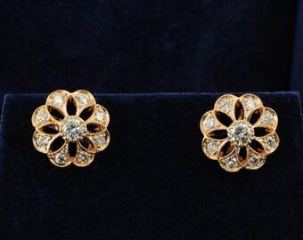 Fabulous 1.20 Ct diamond G/VVS daisy earrings