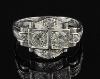 An exquisite Art Deco .70 Ct old cut diamond rare ring