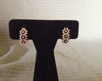 Vintage Goldtone and White Rhinestone Clip On Earrings, 3/4'' High, 1/2'' Wide