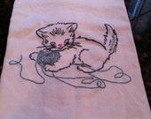 Ms Kitty Embroidered Dish Towel