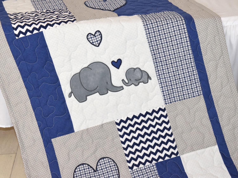 Elephant Baby Blanket Navy Gray Crib Quilt Chevron Kids