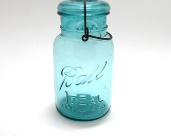 Blue Antique Vintage Ball Ideal Collectable Canning Jar Quart With Wire Bail Early 1900's Embossed PAT D 1908 J-1