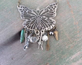 Wings of Plenty Necklace/Butterfly/Charm/Boho/Hippie/Mixed Metal