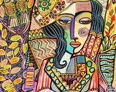 Bohemian Love Bird Woman ) -SILBERZWEIG ORIGINAL PAINTINGS -Folk Post-Impressionism Boho - Vintage France Europe, Lady, Wine Bar Cafe Garden