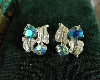 Vintage Rhinestone Earrings, unique,beautiful
