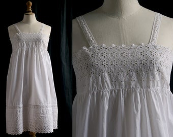 Cotton slip dress white, Hand Richelieu embroidery, upcycled, Lingerie 1910's.size XS