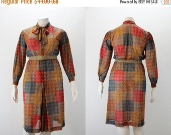 SALE 40% off XL Vintage Dress - Devernois Patchwork Color Block Autumn Print
