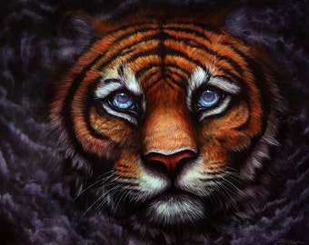 Original - Fantasy Tiger Painting by Danielle Trudeau 20x24 Acrylic and Oil Painting Wildlife