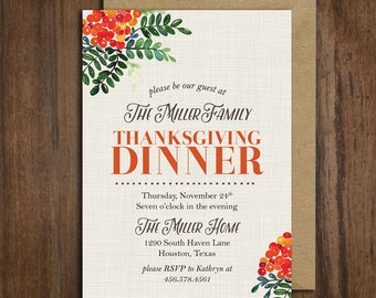 Vintage Floral Thanksgiving Dinner Invitation || Printable Invitation || Fall, Burnt Orange, Brown
