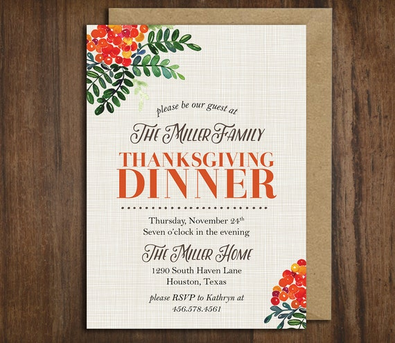 Vintage Floral Thanksgiving Dinner Invitation