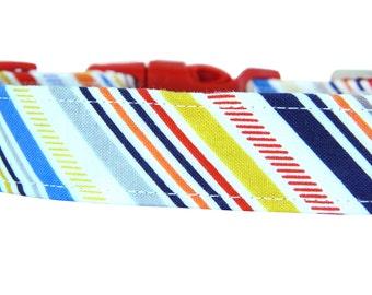Red Blue Yellow Stripe Dog Collar; Stripe Dog Collar: Play Ball Stripe