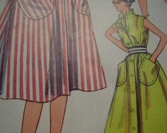 Vintage 1950's Simplicity 4304 Housecoat, Beach Coat and Dress Sewing Pattern, Size 12 Bust 30