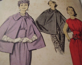 Vintage 1950's Advance 8270 Dress and Cape Sewing Pattern, Size 16 Bust 36