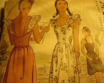 Vintage 1940's McCall 6073 Pinafore Dress Sewing Pattern, Size 14, Bust 32
