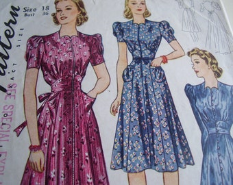 SALE  Vintage 1940's Simplicity 3475 Dress or House Coat Sewing Pattern, Size 18, Bust 36