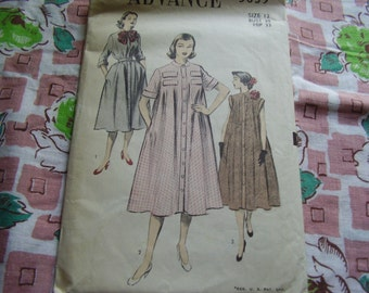 Vintage 1950's Advance 5839 Duster Coat or Dress Sewing Pattern, Size 12, Bust 30