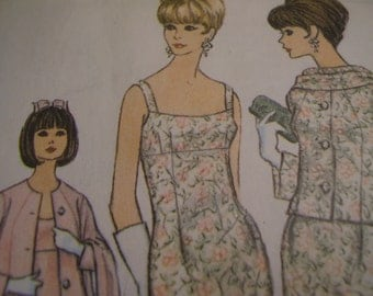 Vintage 1960's McCall's 8076 Pauline Trigere Dress with Jacket and Scarf Sewing Pattern, Size 12, Bust 32