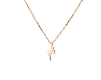 Tiny Thunderbolt necklace - Thunder strike dainty necklace - Lightning bolt charm necklace - Lightning charm necklace