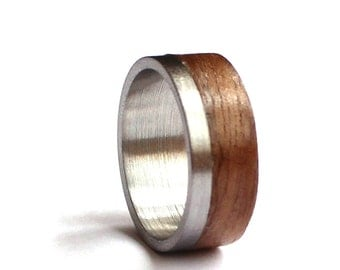Mens Ring, Stainless Steel Wedding Band, Wood Wedding Ring, American Walnut Ring