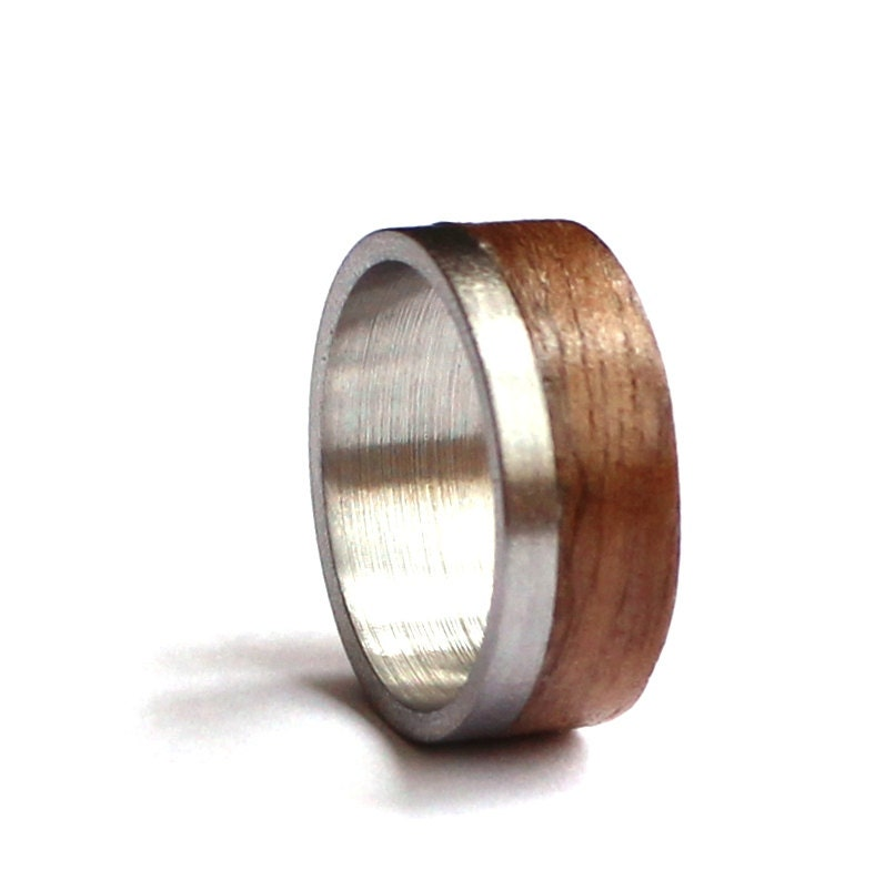 Mens ring stainless steel wedding band wood wedding ring for Do pawn shops buy stainless steel jewelry