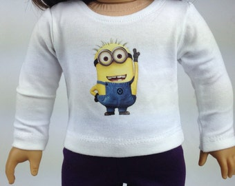 "American Girl Minion White T-shirt  ~ 18""dolls , Despicable Me"
