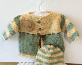 Baby Giraffe Alapaca Cardigan Sweater and Hat Set