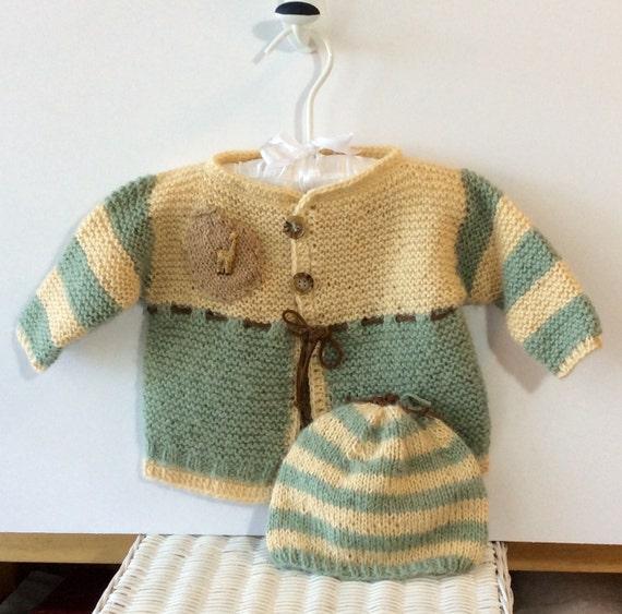Knitting Pattern For Giraffe Sweater : Baby Giraffe Alapaca Cardigan Sweater and Hat Set