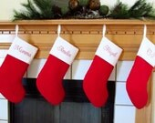 Set of 4 Quilted Personalized Christmas Stockings in Red and White Cuff or Choose Your Own Family Stockings