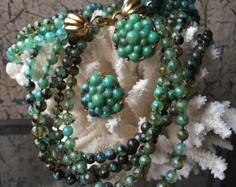 Vintage Green Beaded Torsade Necklace w/ Matching Clip On Earrings