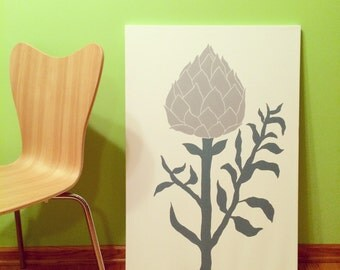 "Artichoke Painting, Kitchen and Dining Artwork, Acrylic on Canvas, 24"" x 36"", Custom Made, Various Sizes & Colors Available"