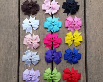 Hair Bows, kids hair accessories, Hair Clips, Girls hair accessory, White, Ivory Grosgrain Hair Bow, lots of colors , stocking stuffer
