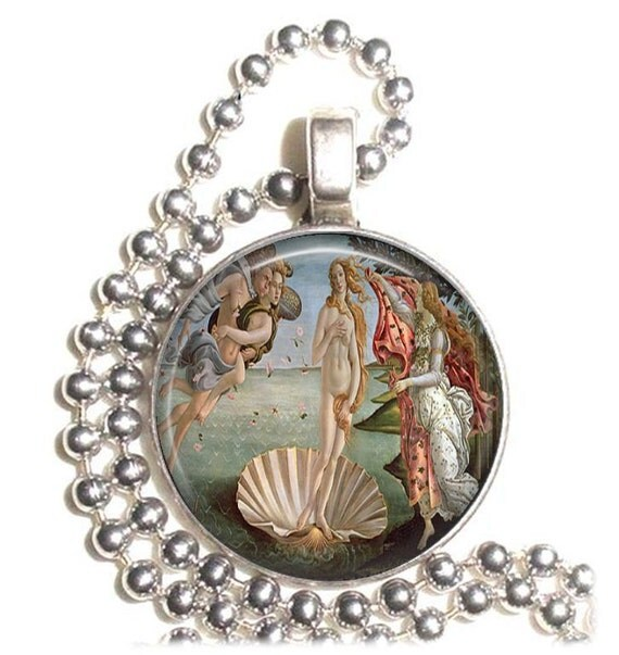 The Birth of Venus Art Pendant, Earrings and Keychain, Round Photo Silver and Resin Charm Jewelry, Greek Mitology Earrings, Goddess Key Fob