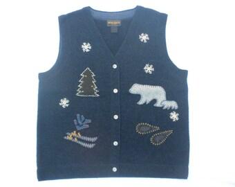 Vintage 90s Woolrich Christmas Holiday Sweater Vest Polar Bear Ski Snowshoes Applique Womens Medium